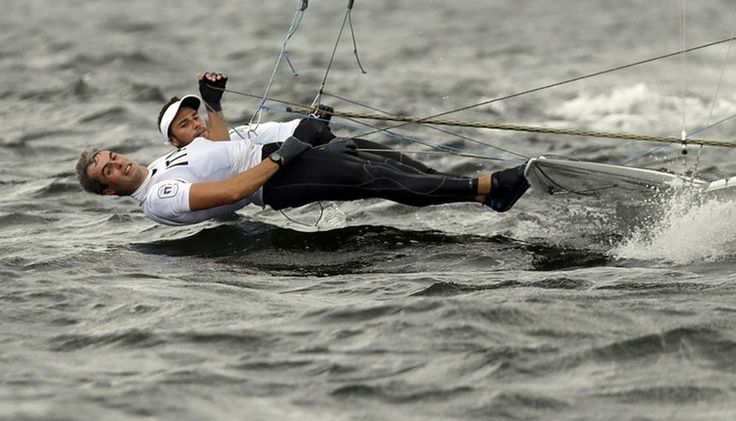 Italians Zucchetti and Tita use the full length of their bodies to steer their boat at Rio2016 #sailing in #rio2016 in phlow