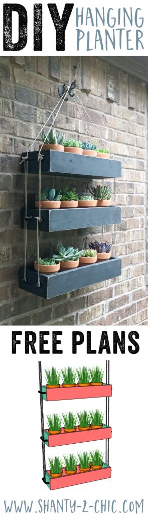 Build this DIY Hanging Planter to add warmth and life to your outdoor space! Also a fun piece to bring indoors! Free plans and how-to video at www.shanty-2-chic.com DIY Outdoor Wall Planter, DIY Planter, DIY Wall Planter, Hanging Planter DIY, Hanging Planter with Rope
