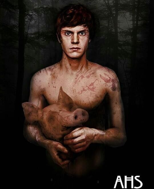 After episode 5, it seems Evan Peters is not the Pigman. He's Edward Philippe Mott, the 17th century builder of the Roanoke House. More of Evan @ pinterest.com/rickysturn/hot-actors