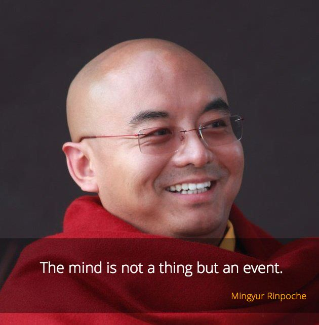 """Mind is an event ~ Mingyur Rinpoche http://justdharma.com/s/v3fe7  The mind is not a thing but an event.  – Mingyur Rinpoche  from the book """"The Joy of Living: Unlocking the Secret and Science of Happiness"""" ISBN: 978-0307347312  -  https://www.amazon.com/gp/product/0307347311/ref=as_li_tf_tl?ie=UTF8&camp=1789&creative=9325&creativeASIN=0307347311&linkCode=as2&tag=jusdhaquo-20"""
