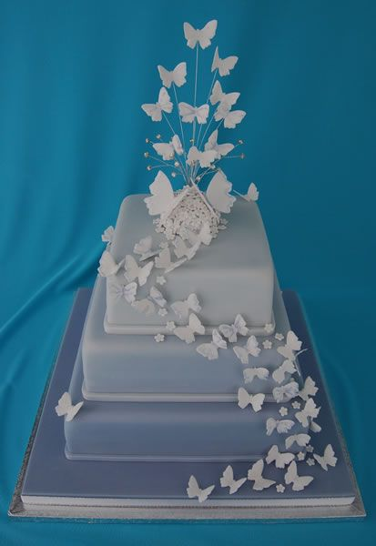 butterfly square wedding cakes   Wedding Cakes by Cakes Beyond Belief - your wish is my command.