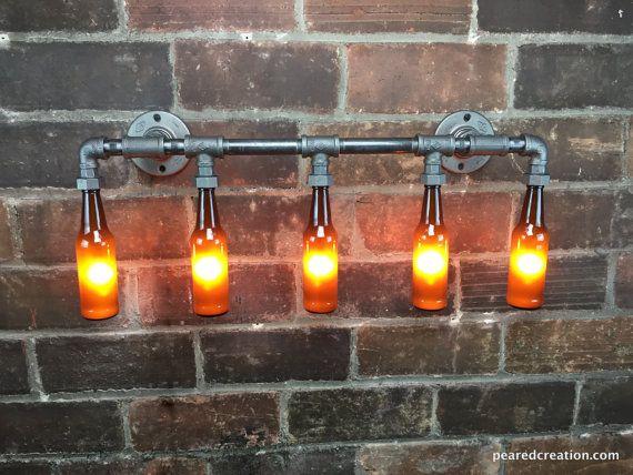 Badkamer ijdelheid licht industriële van newwineoldbottles op Etsy