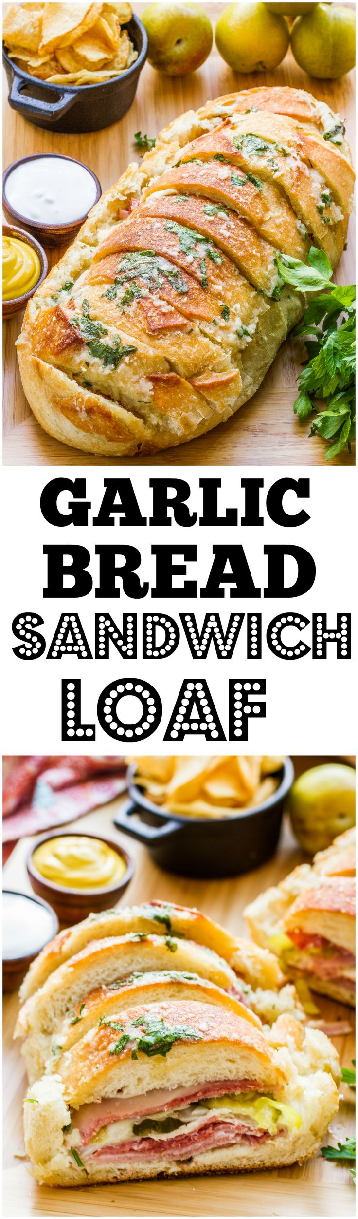 ONE sandwich for the whole family! Layer your choice of meat, cheese and accroutements, pour over melted butter, garlic, parmesan and parsley, bake until hot and cheesy!