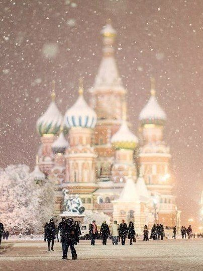 Winter in Moscow. Great architecture could be incorporated into design. The world cup does not take place in Winter (Summer).