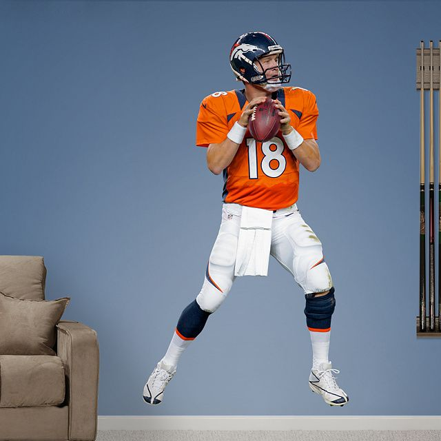 Peyton Manning - Home REAL.BIG. Fathead – Peel & Stick Wall Graphic | Denver Broncos Wall Decal | Sports Home Decor | Football Bedroom/Man Cave/Nursery