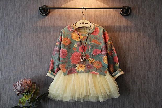 Outono Novas Crianças Outfits Criança Meninas Flores Do Vintage Camisola + Vestido De Tule Tutu Colete Define Miúdos Roupas A6947 Em Summervivi