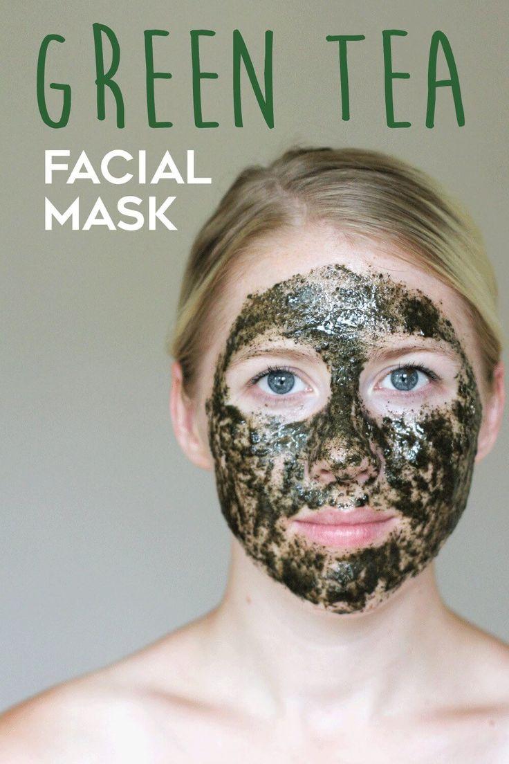 Gesichtsmaske selber machen DIY Kosmetik Rezepte gegen unreine Haut, Naturkosmetik DIY Gesichtsmaske Grüner Tee mit Antioxidanten gegen Akne