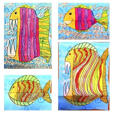 Fish or pirhana. Fold paper in half, then fold bottom half back out. Draw fish. Then unfold paper and extend fish, add teeth to turn into a pirhana.
