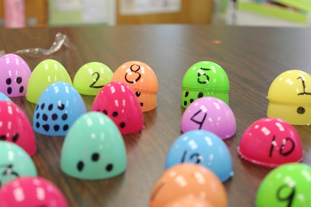 "Matching digits with dots-Students can put together the egg once match is made for fine motor skill development, or as an adaptation, students can place the egg on top as a ""hat"". Students build fine motor control, number recognition, counting, etc."