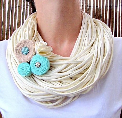cream spaghetti scarf