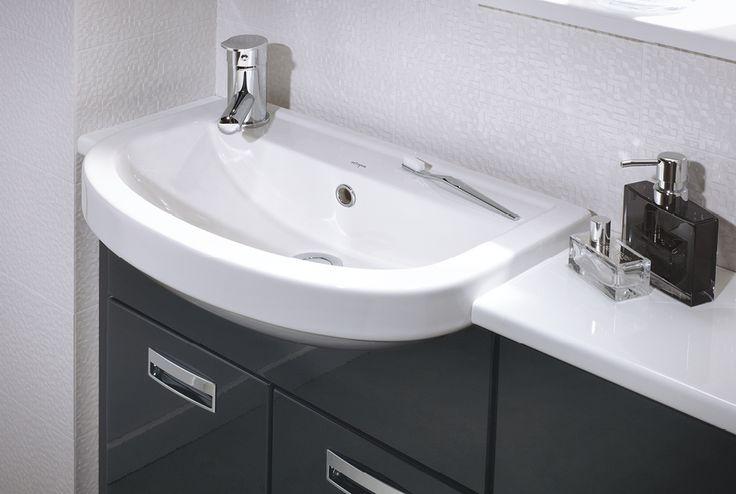 28mm white gloss laminate bathroom worktop and white matrix wall tile #fittedfurniture #bathroomfurniture #tiles #myutopia