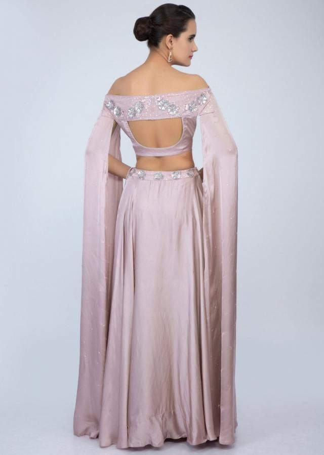 67ce17017b Lilac satin skirt with off shoulder crop top with extended flared sleeves  only on Kalki