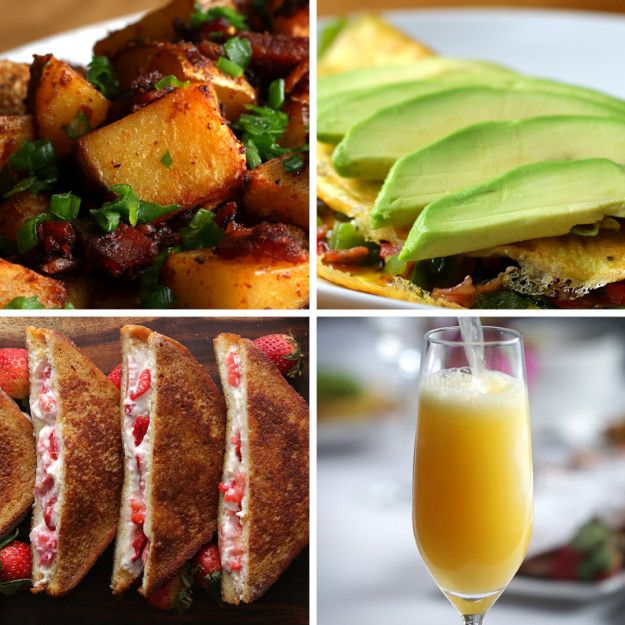 Weekend Brunch  - loaded potato hash with taco seasoning - southwestern omelette - strawberry cheesecake french toast
