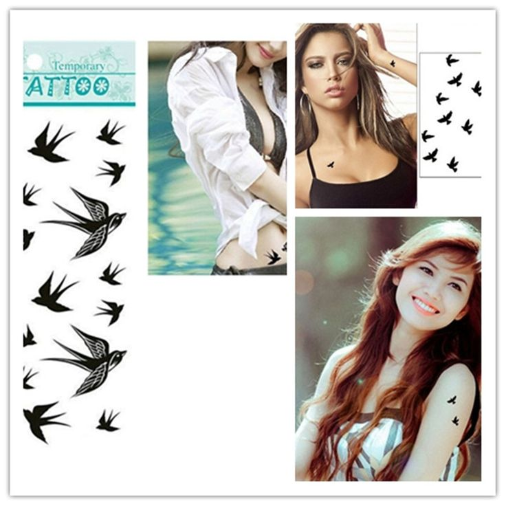 New Design 1pcs The Swallow Bird Flash Tattoo Removable Waterproof Temporary Tattoo Stickers Temporary Body Art Painting