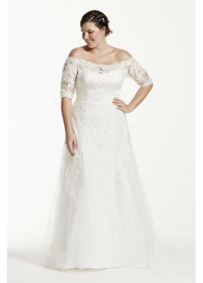 Jewel 3/4 Sleeve Trumpet Plus Size Wedding Dress 9WG3734