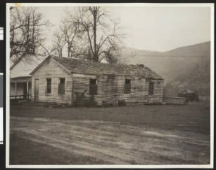 Exterior view of the original Coloma school house, ca.1930 :: California Historical Society Collection, 1860-1960