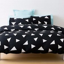 Ebay $34.99 Black White Triangle Print 3pc Double Bed Quilt Doona Cover Set