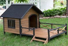 Dog House Weather Resistant Wood Large Outdoor Pet Shelter Cage Kennel NEW No Sales Tax & Free Shipping Dog House with Porch - Large This Dog House is made of solid fir wood with a dark trim accents ...