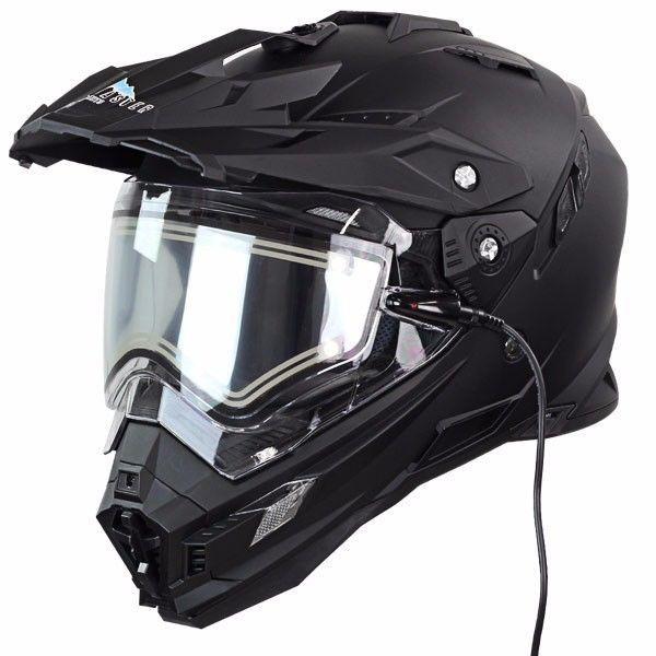 SnowMaster TX-27 Flat Black DualVisor Full Face Heated Shield Snowmobile Helmet #SnowMaster #SnowMobileHelmet