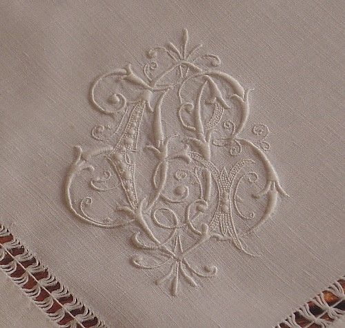 Em's Heart Antique Linens -Antique Monogrammed Napkins