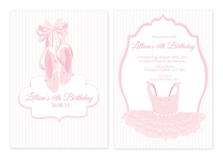 Ballet Personalised Party Invitations