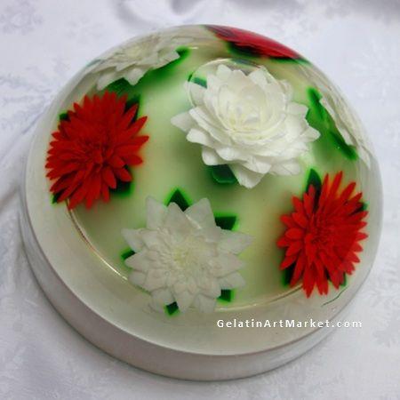 Gelatin Cake Art : Christmas cake - Gelatin Art Flowers drawn in clear jello ...