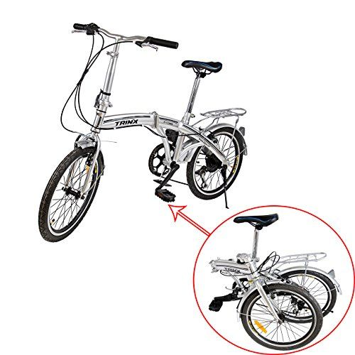 Adult Folding Bikes - Ridgeyard Portable 6 Speed Folding Bike Silver Fold Storage School Sports Shimano 20 Inch Foldable Bicycle >>> You can get additional details at the image link.