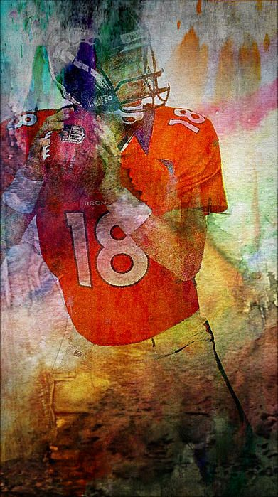 Peyton Manning Mixed Media by Michael Knight - Peyton Manning Fine Art Prints and Posters for Sale