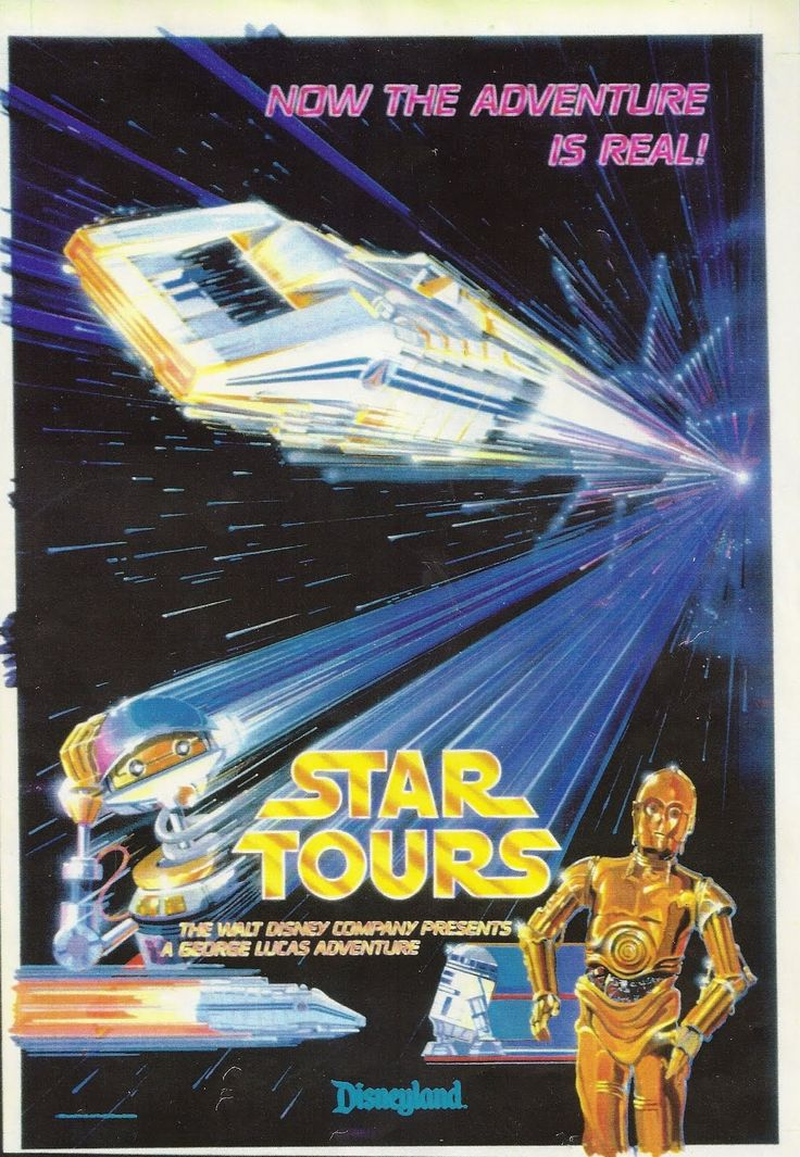 haha Star Tours poster. Disneyland retro poster. 1987.  Tim Delaney of WDI painted the original and the final poster was lithographed (not screened) for use at the park. From: http://attractionposter.blogspot.com/