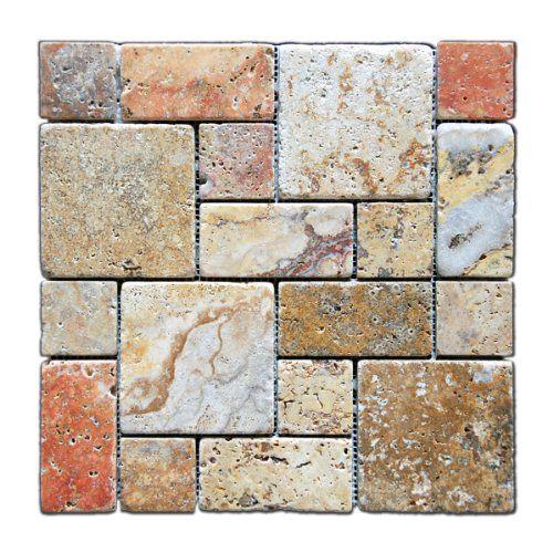 Sample Travertine Emperador Glass Brown Beige Mosaic: Kitchen Backsplash : Scabos 2