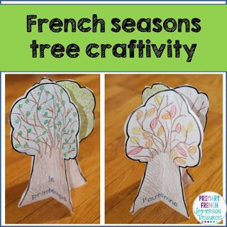 Primary French Immersion Resources: Easy 4 seasons craftivity