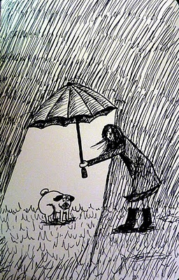 Pug umbrella assistant - this is so true - and frustrating.  One of our pugs won't go in the rain!!!