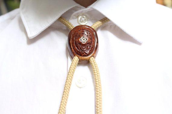 Handmade bolo tie Wooden tie Western neck tie by CosmiziAvocado