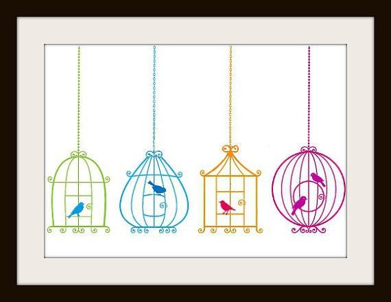 Colorful Birdcage Cross Stitch Pattern by Abbyscrossstitch on Etsy, $4.99. I love this!! Can be printed from home computer.