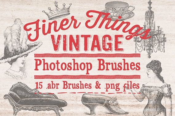 Vintage Ephemera Photoshop Brushes Clip art - 15 Vintage Finer Things .abr Photoshop Brushes - Digital Stamps Clipart by ClikchicDesign #photoshop #graphic #design by Clikchic Designs