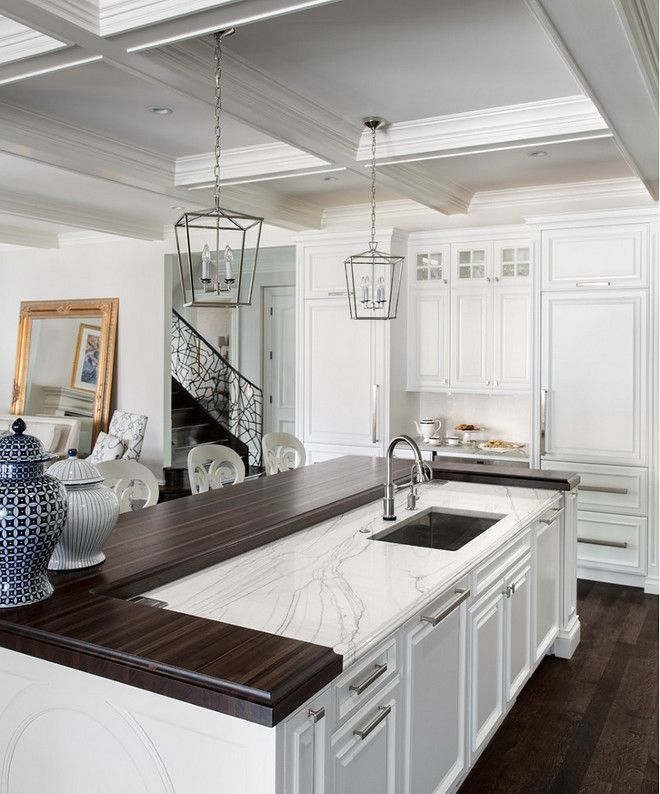 White Kitchen With Mixed Countertop