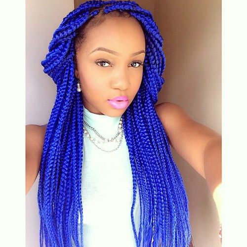Blue box braids