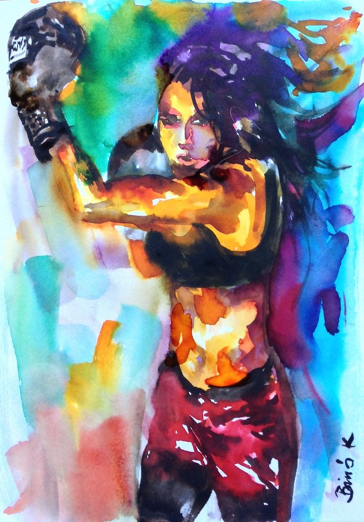The warrior watercolor art by Konrad Biro