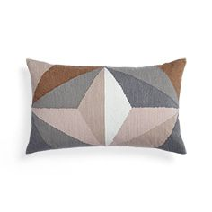 Multicolor Embroidered Geo Lumbar Pillow