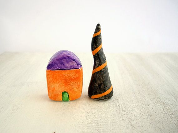 Halloween clay house and tree spooky by FishesMakeWishesHome