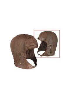 Leather Pilots Brown Helmet ! Buy Now at gorillasurplus.com