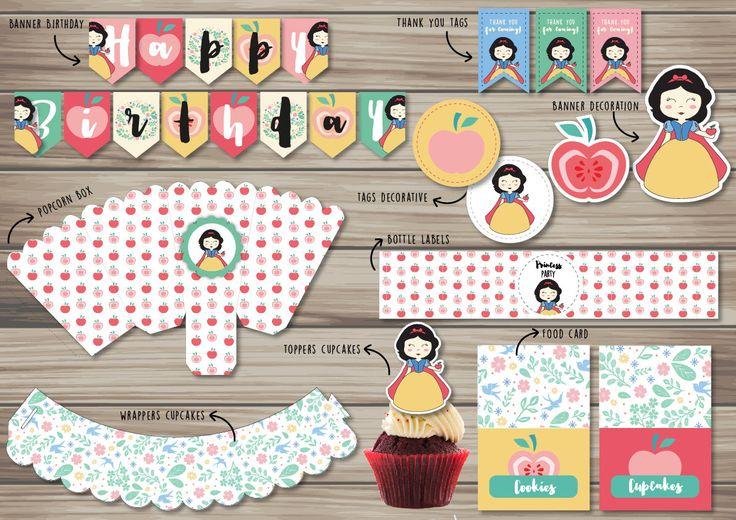 Snow White Party Printable - Party Package - Snow White Party Supplies - Kit imprimibles Blancanieves de PartyDesignsTienda en Etsy
