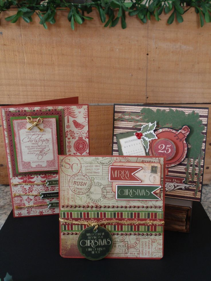 Three christmas cards with more added detail with layered kaisercraft collectable and golden threads. family, friends, merry christmas, red and green, folk, postage, holly, bauble, stripes.