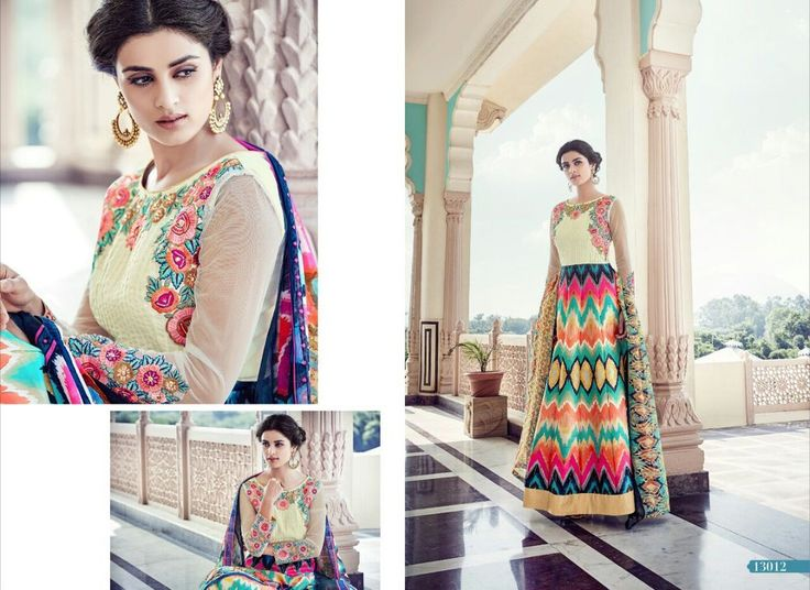 Colorful digital print gown with embroidery / Floor length anarkali