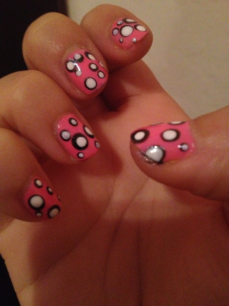 Pink with dots nails