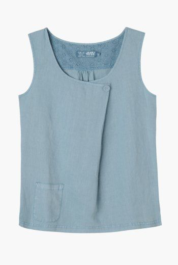 Levant Top | Flattering linen vest top. Made from saltwash linen to keep you cool in warmer weather, and easy fitting for comfort.
