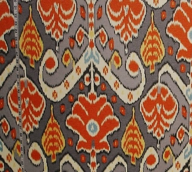 Orange ikat fabric grey aqua yellow from Brick House Fabric: Novelty Fabric