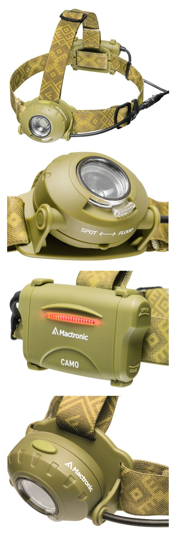 The CAMO headlamp is a choosy camper's capable companion with its choice of a flood beam to illuminate the whole campground or a spot beam to traverse the most treacherous trails. The adjustable head aims the Camo's 300 lms up to 190 meters. A red LED in the Camo's battery case makes your presence known to fellow travelers behind you. The Camo doesn't hide from dust, dirt, mud and rain with an IPX4 water resistant rating and impact proof for a meter drop.
