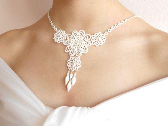 Elfenbein tatted Spitze Halskette Hochzeit von SILHUETTE auf Etsy