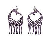 Wood Purple Earrings - Giraffe Heart - $14.25 at The Purple Store